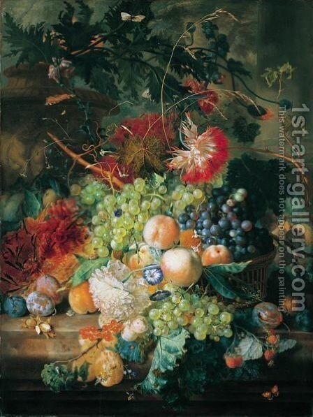 A Still Life Of Fruit In A Basket With Flowers And Other Fruit, All Upon A Marble Ledge Before An Urn And Column by Jan Van Huysum - Reproduction Oil Painting