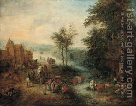 A Village Scene With Waggoners On A Road And Boors Watering Their Cattle In A River by (after) Andreas Martin - Reproduction Oil Painting