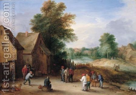 A Village Scene With Boors Playing Skittles Outside A Tavern by Theobald Michau - Reproduction Oil Painting