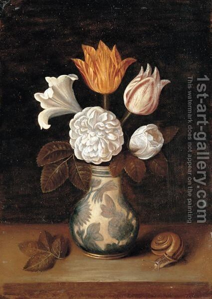 A Still Life Of Roses, A Lily And Variegated Tulips In A Blue And White Vase, With A Snail Nearby by (after) Ambrosius The Elder Bosschaert - Reproduction Oil Painting