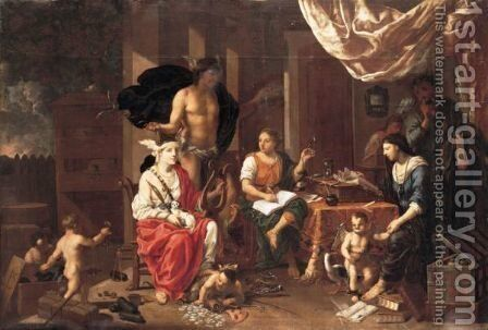 An Allegory Of Art And Commerce by Johann Heiss - Reproduction Oil Painting