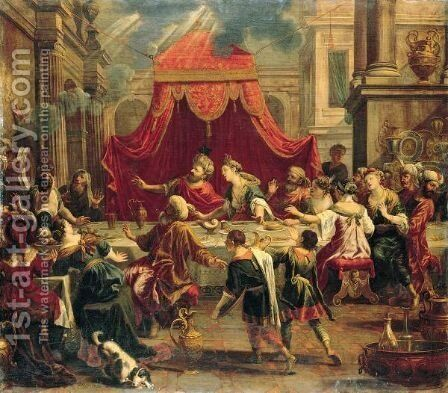 Belshazzar's Feast by Johann Heiss - Reproduction Oil Painting