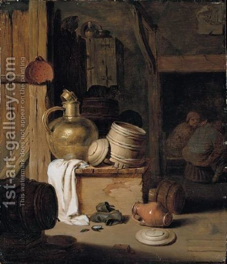 A Barn Interior With A Still Life Of Various Pots, Barrels, And Baskets With A Cat, Boors Seated Beyond by Hendrick Maertensz. Sorch (see Sorgh) - Reproduction Oil Painting