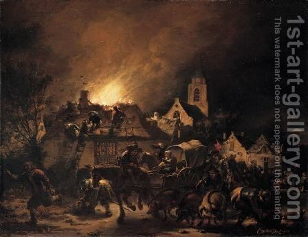 A Fire In A Village At Night by Egbert Lievensz. Van Der Poel - Reproduction Oil Painting