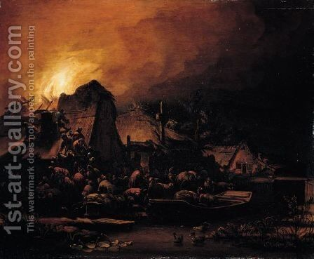 A Nocturnal Scene With A Cottage Ablaze Beside A Canal by Egbert Lievensz. Van Der Poel - Reproduction Oil Painting