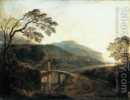 An Extensive River Landscape With A Fisherman Sitting Before A Bridge by Cornelis Matthieu - Reproduction Oil Painting