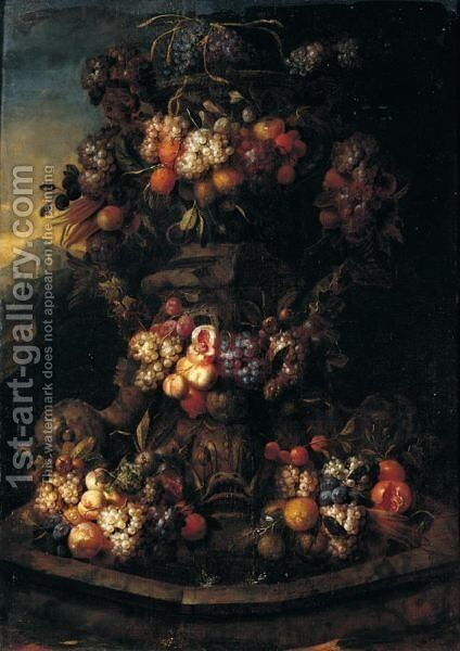 Still Life Of Swags Of Fruit Adorning A Stone Fountain by Jan Pauwel Gillemans The Elder - Reproduction Oil Painting