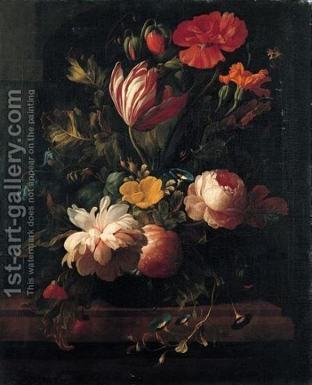 A Still Life Of Roses, Irises, Narcissi, Poppies And Various Other Flowers In A Vase On A Stone Ledge by Elias van den Broeck - Reproduction Oil Painting