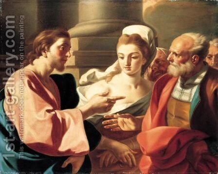 Christ And The Woman Taken In Adultery by Jacopo Cestaro - Reproduction Oil Painting
