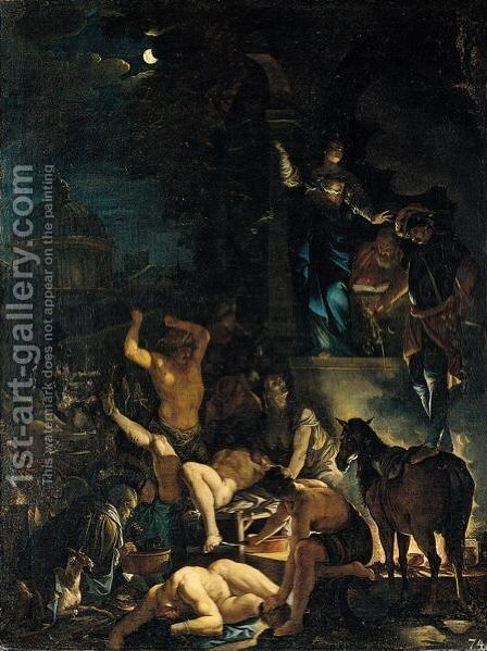 A Scene Of Witchcraft by Domenicus van (Ascanius) Wijnen - Reproduction Oil Painting