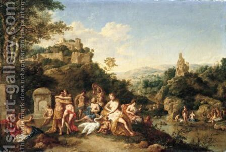 Leda And The Swan by Jan the Elder Griffier - Reproduction Oil Painting