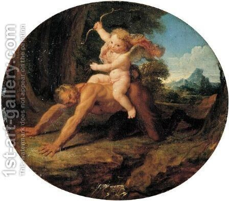 Cupid Riding A Satyr by Antoine Coypel - Reproduction Oil Painting