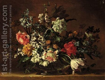A Still Life Of Flowers In A Glass Vase On A Stone Ledge by Jean-Baptiste Monnoyer - Reproduction Oil Painting