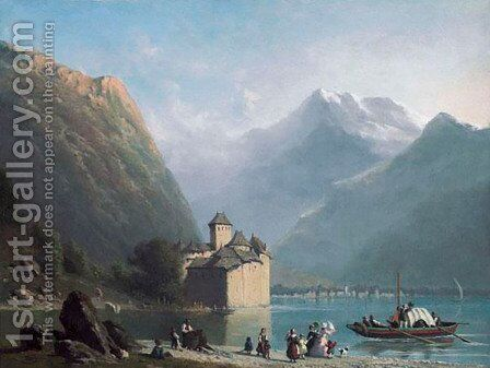 Chateau Chillon by Anthon Adrianus Sem - Reproduction Oil Painting