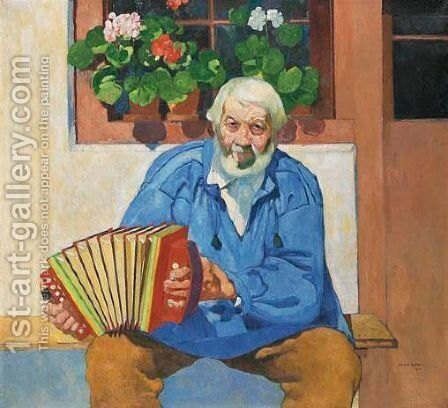 Alter Mann Mit Handorgel, 1911 by Max Buri - Reproduction Oil Painting