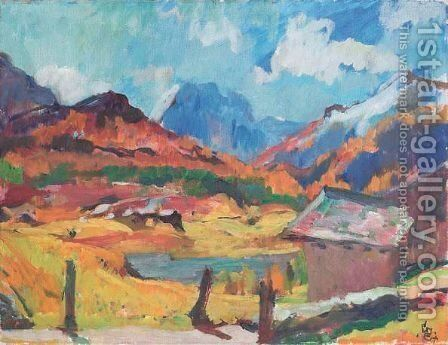 Engadiner Herbstlandschaft, 1930 by Giovanni Giacometti - Reproduction Oil Painting