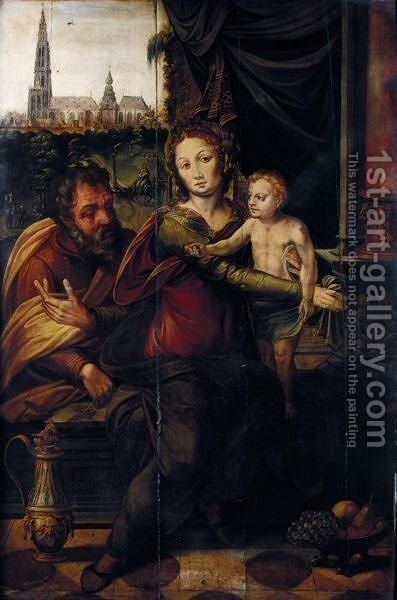 The Holy Family With A View Of Antwerp Cathedral Beyond, Seen From The South by Antwerp School - Reproduction Oil Painting