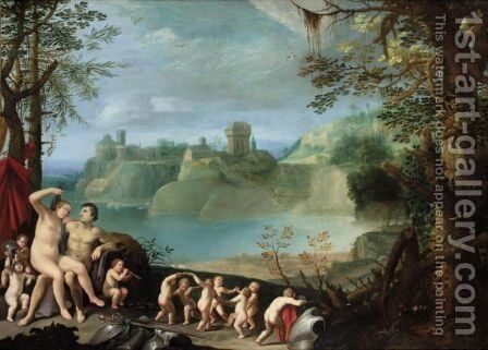 Mars And Venus In An Extensive River Landscape With Putti Playing And Dancing by (after) Paul Bril - Reproduction Oil Painting