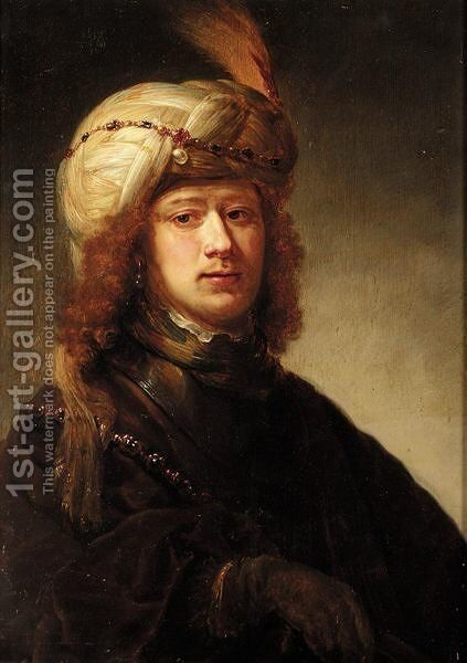 A Portrait Of A Man, Bust Length, Wearing A Turban And A Chain Of Office Over A Brown Cloak by David de Koninck - Reproduction Oil Painting