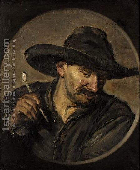 A Man In A Hat, Holding A Pipe by (after) Frans Hals - Reproduction Oil Painting