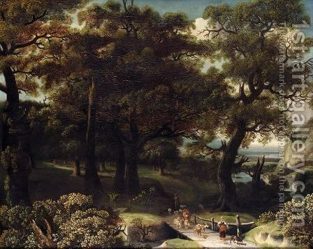 A Wooded Landscape With Drovers And Animals Crossing A Bridge by (after) Jan Looten - Reproduction Oil Painting