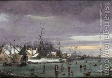 A Winter Landscape With Skaters On A Frozen River by Dutch School - Reproduction Oil Painting