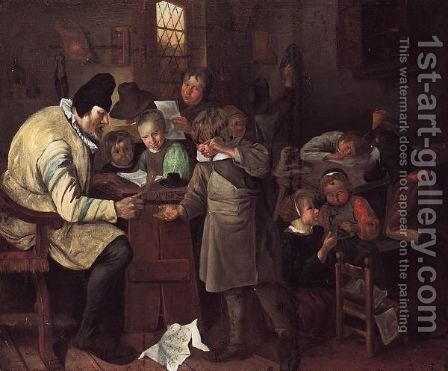 The Village School by (after) Jan Steen - Reproduction Oil Painting