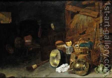 A Barn Interior With A Still Life Of Kitchen Utensils And An Owl, Two Men Beside A Fire Beyond by David The Younger Ryckaert - Reproduction Oil Painting