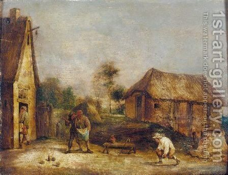 A Landscape With Boors Playing Skittles by (after)  David The Younger Teniers - Reproduction Oil Painting