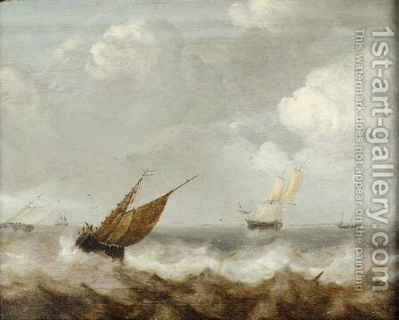 A Seascape With Dutch Shipping Off The Coast by Jan Porcellis - Reproduction Oil Painting