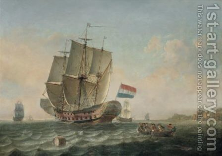 Dutch Shipping And A Rowing Boat Off The Coast by Dutch School - Reproduction Oil Painting