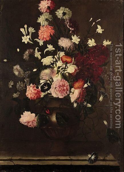 A Still Life Of Roses, Carnations, And Various Other Flowers In An Urn On A Stone Ledge by (after) Karel Van Vogelaer, Called Distelbloom - Reproduction Oil Painting