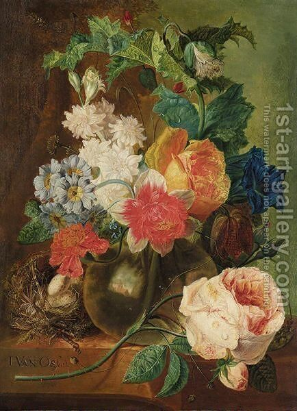 A Still Life With Roses And Other Flowers In A Glass Vase, Together With A Bird's Nest All Resting On A Stone Ledge by (after) Jan Van Os - Reproduction Oil Painting