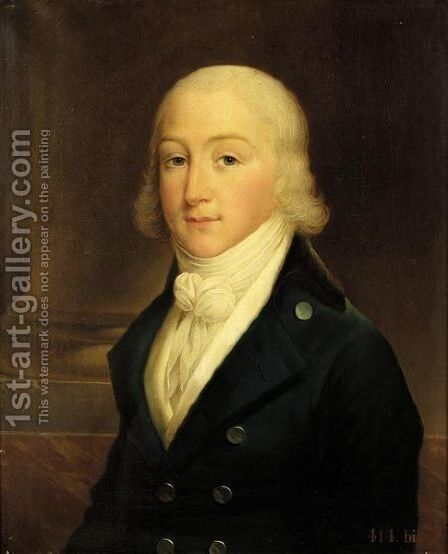 A Portrait Of Louis Charles D'Orleans (Died 1808), Head And Shoulders, Wearing A Blue Frock Coat And A White Waist-Coat by Albert Gregorius - Reproduction Oil Painting