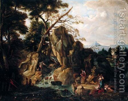 A Mountainous Landscape With Figures Fishing And Resting By A Stream by (after) Francesco Zuccarelli - Reproduction Oil Painting