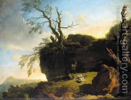A Praying Hermit In A Landscape by (after) Carlo Bonavia - Reproduction Oil Painting