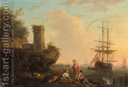 A Mediterranean Coastal Scene With Figures Fishing, A Dutch Ship At Anchor Beyond by (after)  Claude-Joseph Vernet - Reproduction Oil Painting