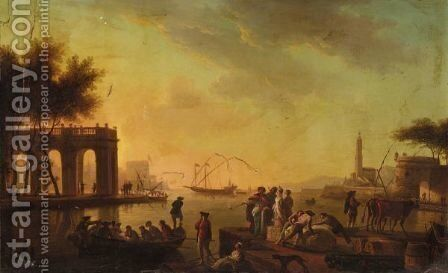 A Mediterranean Harbour Scene With Figures In Turkish Dress And A Classical Loggia Beyond by (after)  Claude-Joseph Vernet - Reproduction Oil Painting