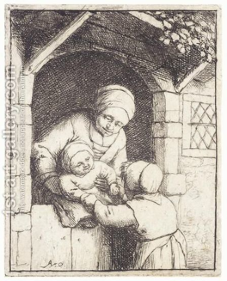 Mother With Two Children by Adriaen Jansz. Van Ostade - Reproduction Oil Painting