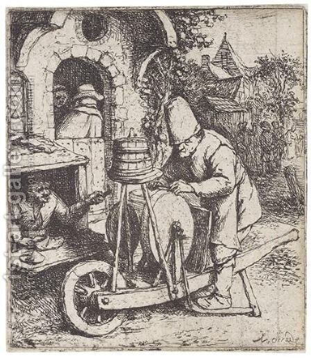 The Knifegrinder by Adriaen Jansz. Van Ostade - Reproduction Oil Painting