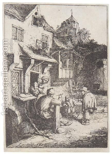 The Hunchbacked Fiddler by Adriaen Jansz. Van Ostade - Reproduction Oil Painting