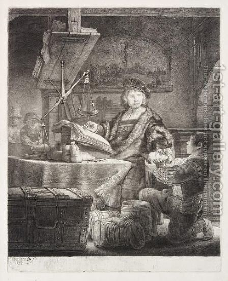 Jan Uytenbogaert, The Goldweigher by Rembrandt - Reproduction Oil Painting