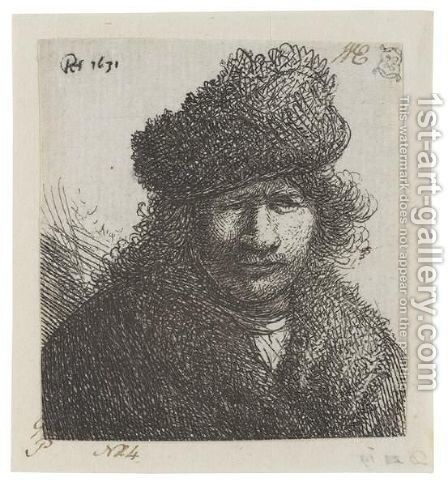 Self Portrait In A Slant Fur Cap Bust by Rembrandt - Reproduction Oil Painting