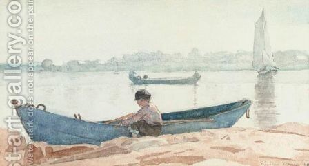 Boy With Blue Dory by Winslow Homer - Reproduction Oil Painting