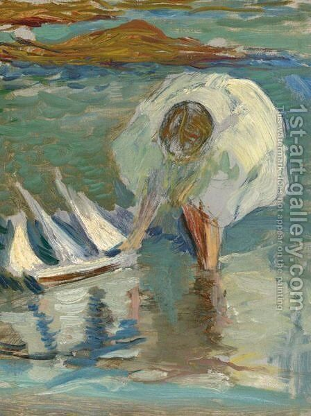 Study Of Girl With Sailboat by Edmund Charles Tarbell - Reproduction Oil Painting