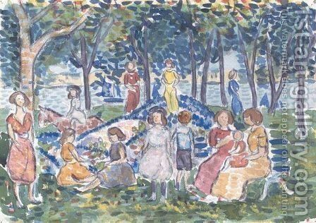 Playtime At Salem Park, Massachusetts by Maurice Brazil Prendergast - Reproduction Oil Painting