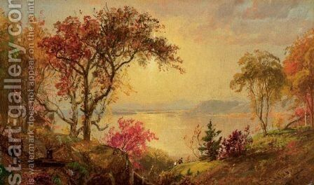Lake Scene With Hikers In Vale by Jasper Francis Cropsey - Reproduction Oil Painting