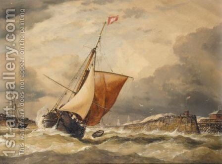 Coming Into Port In Stormy Weather by Edward William Cooke - Reproduction Oil Painting