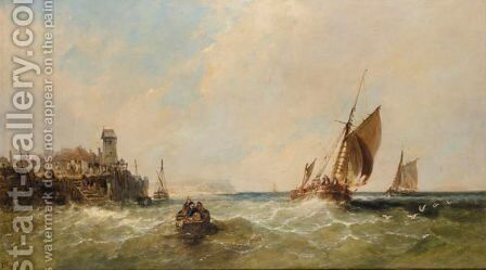 Entering The Harbour by James Edwin Meadows - Reproduction Oil Painting