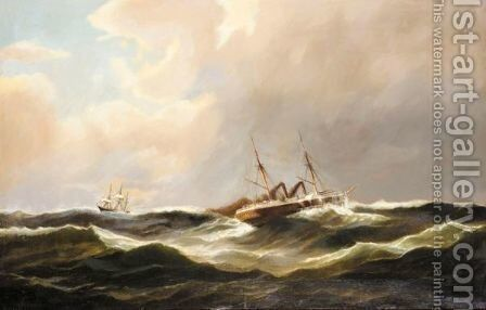 A Steamer On The Open Seas by Carl Ludwig Bille - Reproduction Oil Painting